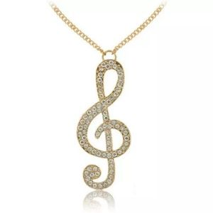 Jewelry - Crystal Music Note Pendant Long Necklaces